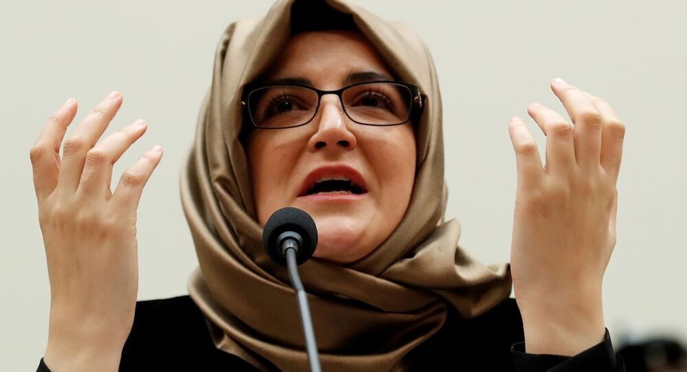 Hatice Cengiz, fiancee of murdered journalist Jamal Khashoggi, testifies before a House Foreign Affairs Subcommittee hearing on The Dangers of Reporting on Human Rights on Capitol Hill in Washington U.S., May 16, 2019