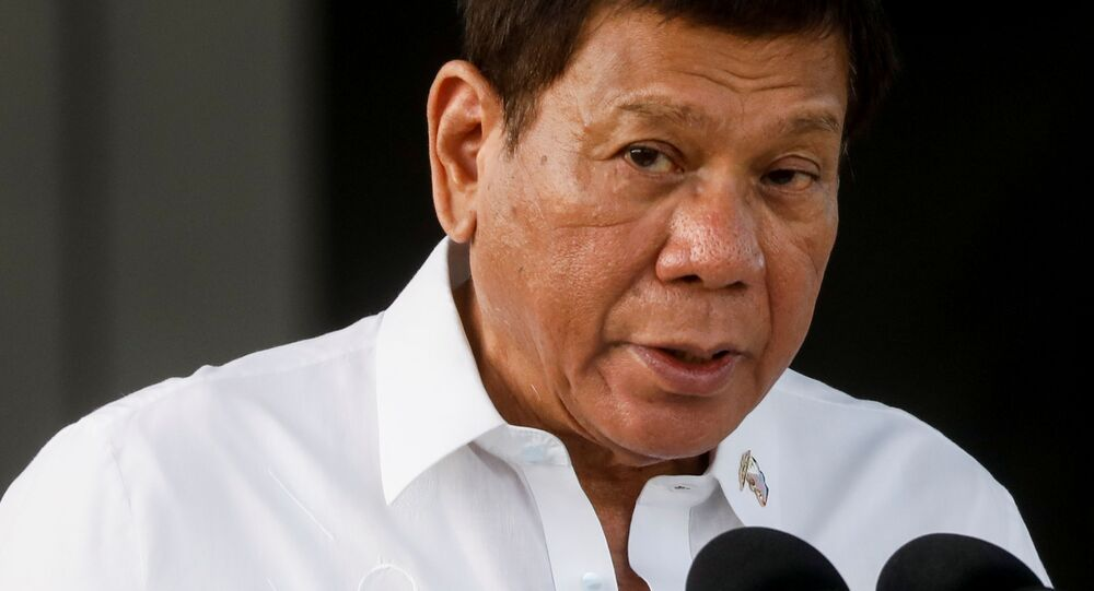 Philippine President Rodrigo Duterte speaks during the arrival ceremony for the first COVID-19 vaccines to arrive in the country, at Villamor Air Base in Pasay, Metro Manila, Philippines, February 28, 2021