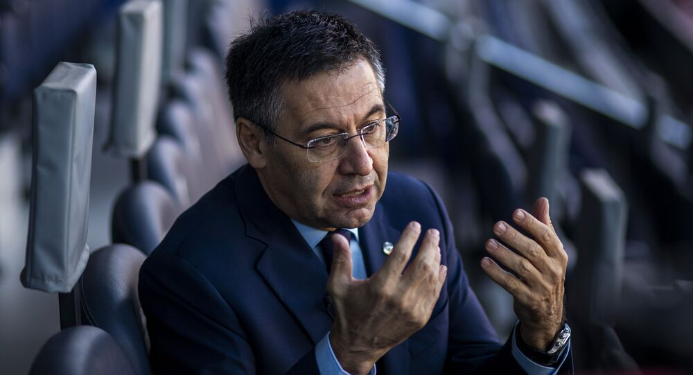 In this Friday, Nov. 8, 2019, photo, President of FC Barcelona Josep Bartomeu speaks during and interview with the Associated Press at the Camp Nou stadium in Barcelona, Spain