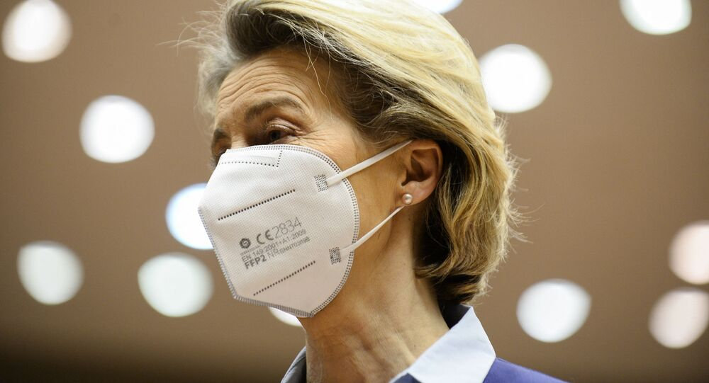 European Commission President Ursula Von Der Leyen looks on as she arrives at the European Parliament to explains the European Union's vaccine strategy to European Parliament, in Brussels, on February 10, 2021.