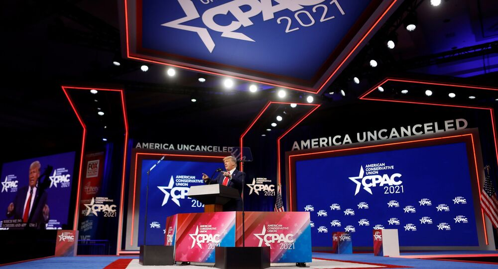 Former U.S. President Donald Trump speaks at the Conservative Political Action Conference (CPAC) in Orlando, Florida, U.S. February 28, 2021.