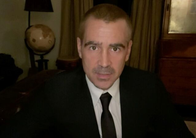 Actor Colin Farrell is seen in this handout screen grab from the 78th Annual Golden Globe Awards in Beverly Hills, California, US, 28 February 2021.