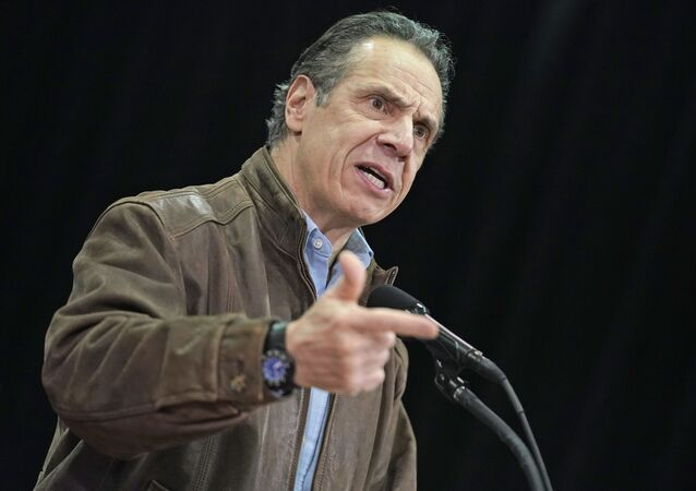 In this Wednesday, Feb. 24, 2021, file photo, New York Gov. Andrew Cuomo speaks during a press conference before the opening of a mass COVID-19 vaccination site in the Queens borough of New York.