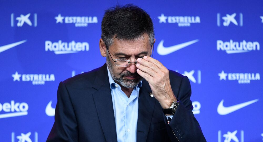 In this file photo taken on August 19, 2020 Barcelona's president Josep Maria Bartomeu attends the official presentation of new Dutch coach Ronald Koeman at the Camp Nou stadium in Barcelona on August 19, 2020.