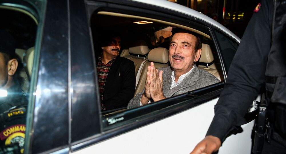Indian politician of the Indian National Congress Ghulam Nabi Azad gestures as he leaves the Ministry of Foreign Affairs after an all party meeting called by Indian Minister of External Affairs Sushma Swaraj, in New Delhi on February 26, 2019
