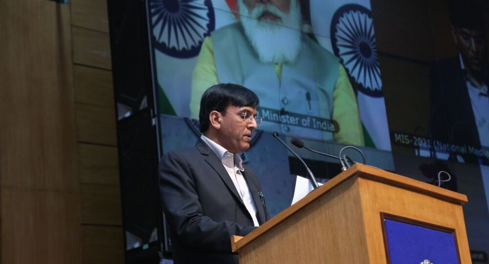 India's Shipping Minister Mansukh Mandaviya delivering his keynote address at the inauguration of the Maritime India Summit (MIS) on Tuesday