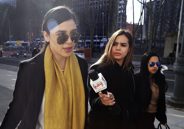 Emma Coronel Aispuro, wife of Joaquin El Chapo Guzman, arrives at the federal court, Monday, 4 February 2019 in New York.