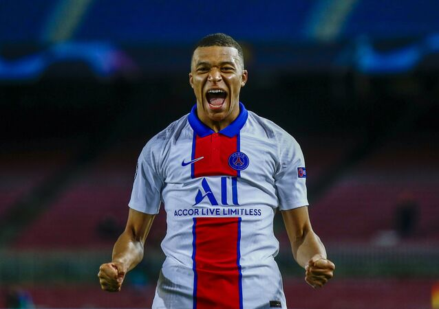 PSG's Kylian Mbappe celebrates after scoring his side's second goal during the Champions League round of 16,
