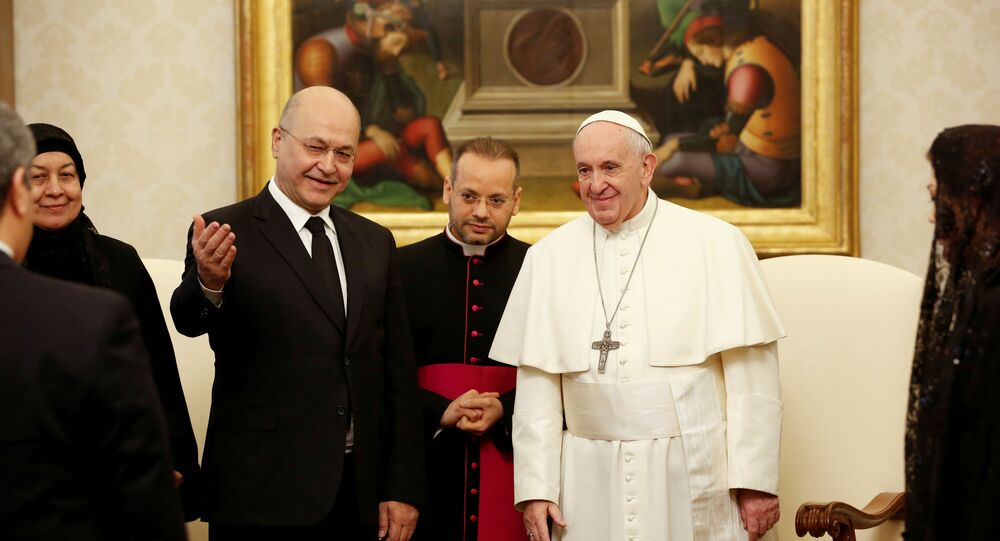 Pope Francis meets Iraqi President Barham Salih at the Vatican