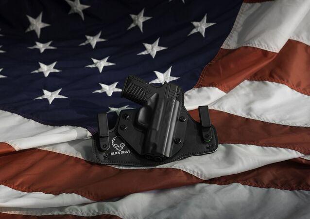Concealed carry, US flag, pistol
