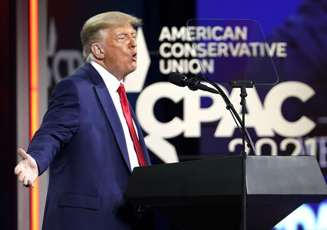 Former President Donald Trump speaks at the Conservative Political Action Conference (CPAC), Sunday, Feb. 28, 2021, in Orlando, Fla.