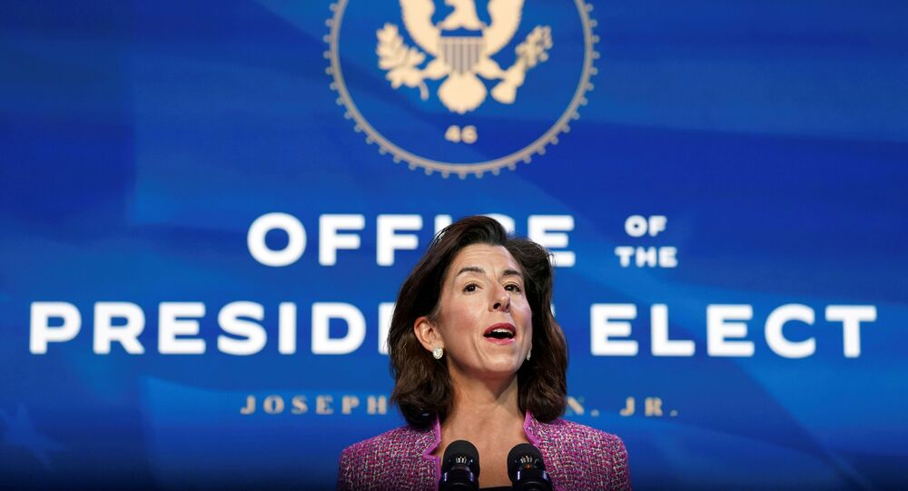 Gina Raimondo, U.S. President-elect Joe Biden's nominee to be secretary of Commerce, speaks during an event to announce members of Biden's economics and jobs team at his transition headquarters in Wilmington, Delaware, U.S., January 8, 2021. Picture taken January 8, 2021.