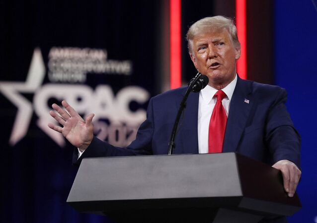 Former U.S. President Donald Trump addresses the Conservative Political Action Conference (CPAC) held in the Hyatt Regency on February 28, 2021 in Orlando, Florida.