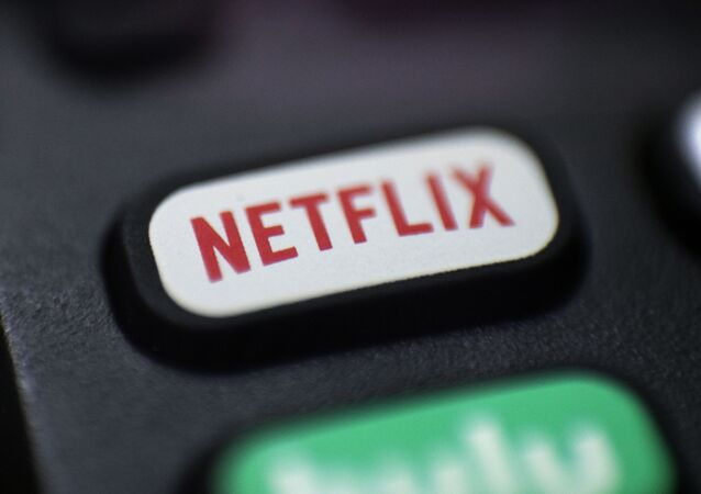 Logo for Netflix on a remote control