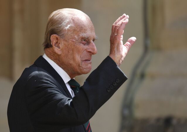 In this Wednesday July 22, 2020 file photo, Britain's Prince Philip arrives for a ceremony for the transfer of the Colonel-in-Chief of the Rifles from himself to Camilla, Duchess of Cornwall, at Windsor Castle, England