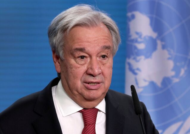 U.N. Secretary-General Antonio Guterres addresses the media during a joint news conference with German Foreign Minister Heiko Maas after a meeting in Berlin, Germany, December 17, 2020.