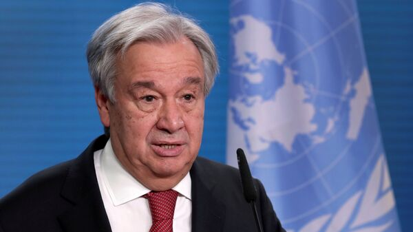 U.N. Secretary-General Antonio Guterres addresses the media during a joint news conference with German Foreign Minister Heiko Maas after a meeting in Berlin, Germany, December 17, 2020. - Sputnik International