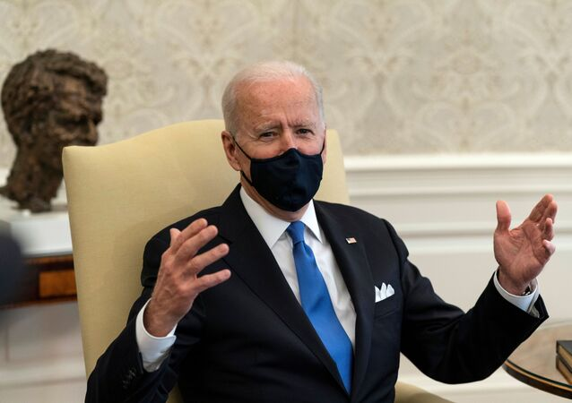 U.S. President Joe Biden speaks during a bipartisan meeting on cancer legislation in the Oval Office at the White House in Washington, U.S., March 3, 2021