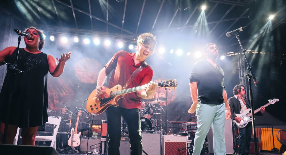 Matthew Followill, Nathan Followill, Caleb Followill and Jared Followill of the band Kings Of Leon perform at Bicentennial Capitol Mall State Park on September 15, 2018 in Nashville, Tennessee.