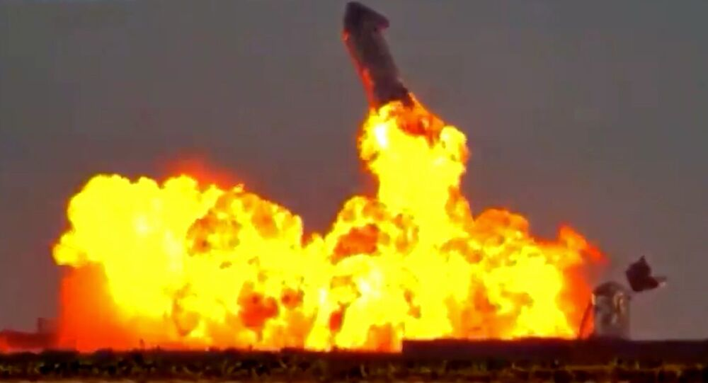Screenshot captures the exact moment that the SN10 Starship prototype exploded after managing to successfully land at SpaceX's Boca Chica facility in Texas.