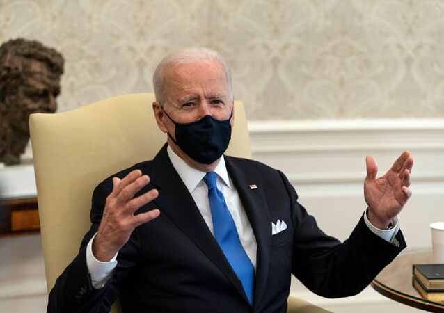 U.S. President Joe Biden speaks during a bipartisan meeting on cancer legislation in the Oval Office at the White House in Washington, U.S., March 3, 2021.
