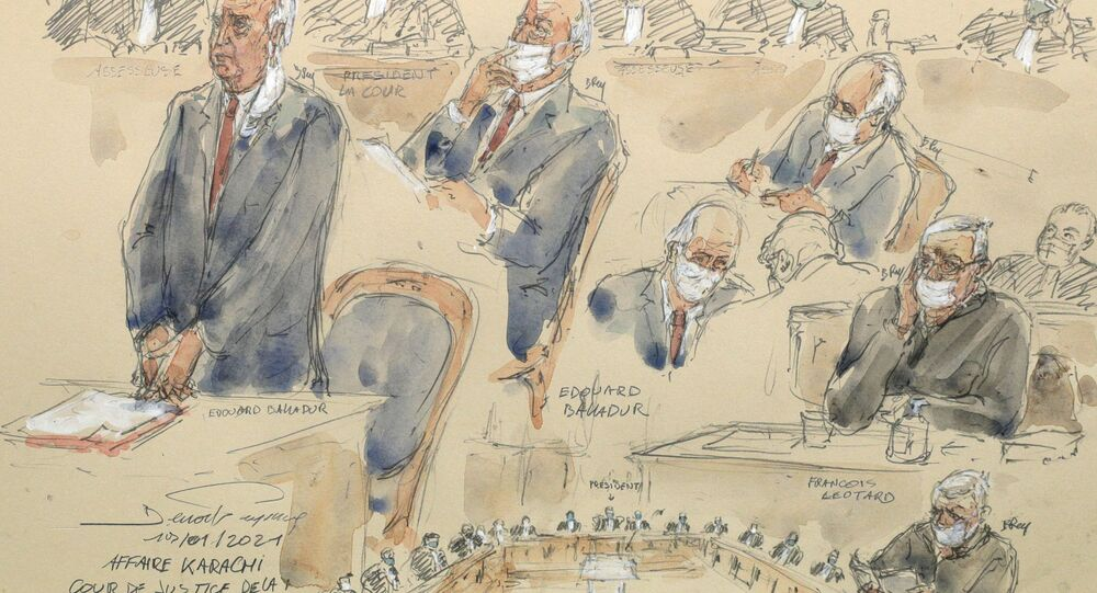 A courtroom sketch made on 19 January 2021 shows French former Prime Minister Edouard Balladur (L) and his former defence minister Francois Leotard (R) sit in the courtroom during their trial over alleged campaign graft in the so-called Karachi affair on 19 January 2021 at the Court of Justice of the Republic in Paris.