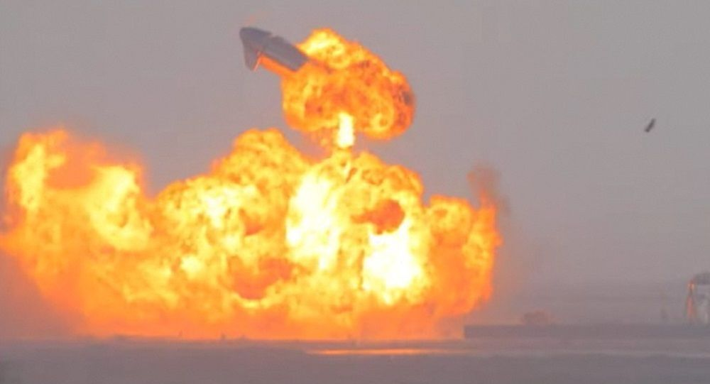 SpaceX Starship SN10 explodes after liftoff at South Padre Island, Texas, U.S. March 3, 2021 in this still image taken from a social media video