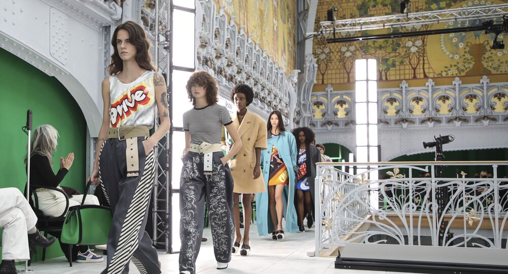 Models at a Louis Vuitton fashion show in Paris in October 2020