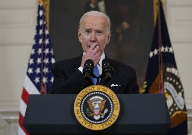 President Joe Biden speaks about efforts to combat COVID-19, in the State Dining Room of the White House, Tuesday, March 2, 2021, in Washington