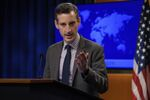 U.S. State Department Spokesman Ned Price speaks during a news briefing at the State Department in Washington, Thursday, Feb. 25, 2021.