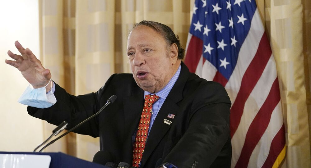 Businessman John Catsimatidis, the Gristedes grocery chain mogul, speaks at a news conference at the Women's Republican Club, Wednesday, Sept. 16, 2020, in New York.