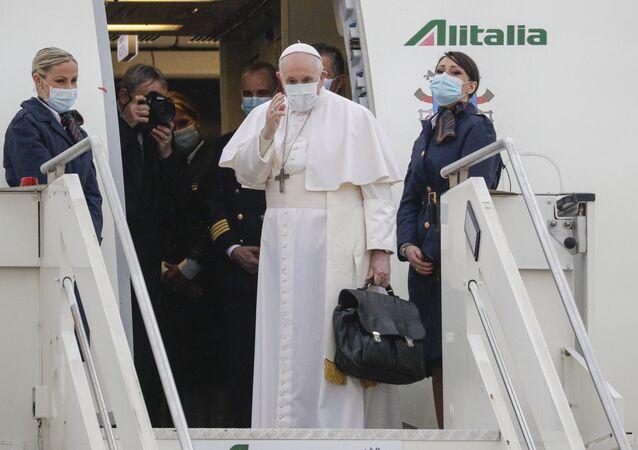 Pope Francis prepares to leave from Fiumicino's International airport Leonardo da Vinci, near Rome, for Baghdad, Iraq, Friday, 5 March 2021.