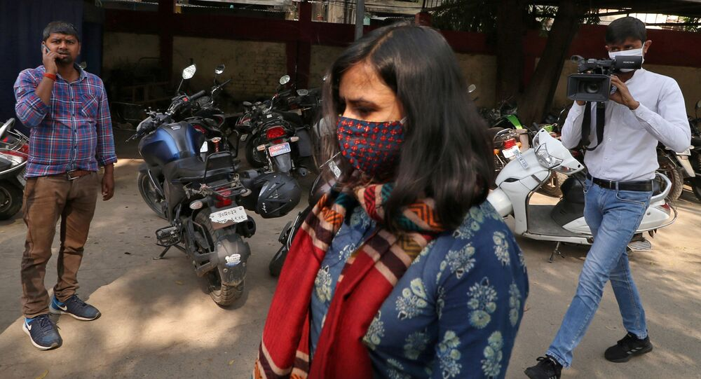 Aparna Purohit, Amazon's head of original content for its Prime streaming service in India, arrives for questioning at a police station in Lucknow, India, February 23, 2021