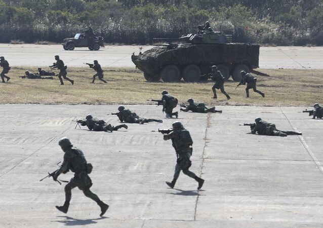 Taiwanese troops conduct military drills in January 2021 in Hsinchu County, northern Taiwan