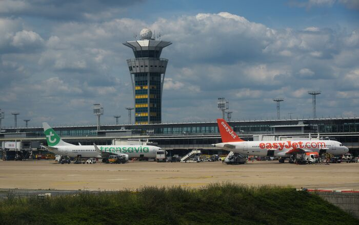 Transavia Boeing 737 (left) and  easyJet Airbus A320-214 at Orly Airport in Paris, France. File photo.