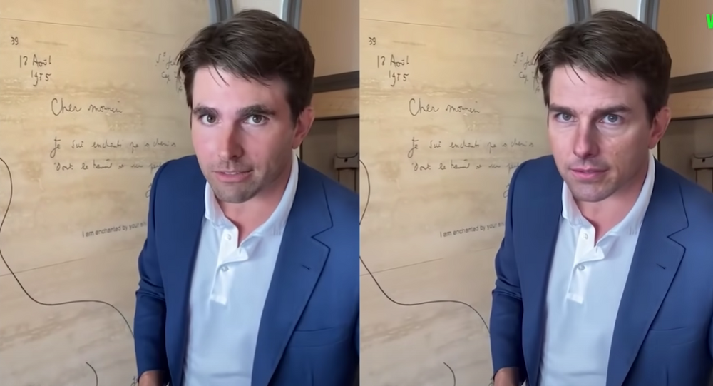 Side-by-side image shows Tom Cruise impersonator Miles Fisher portraying the US actor in a deepfake video