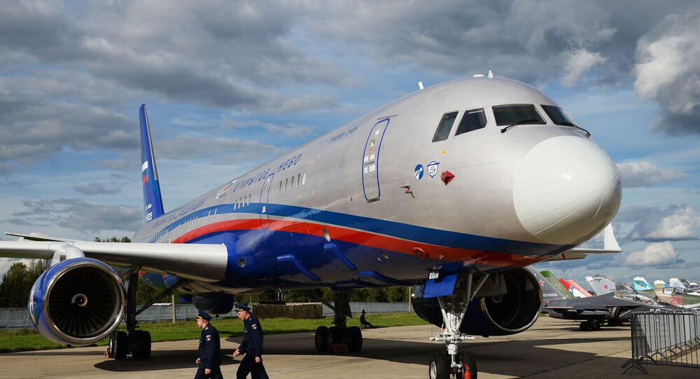 The Tu-214ON (Open Sky) aerial surveillance aircraft, developed by Tupolev on the basis of the Tu-214 passenger aircraft, is presented at the exhibition of aviation equipment at the Kubinka airfield at the ARMY-2016 International Military-Technical Forum.