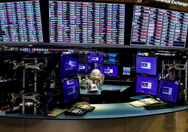 Dividers are seen inside a trading post on the trading floor as preparations are made for the return to trading at the New York Stock Exchange (NYSE) in New York, U.S., May 22, 2020.