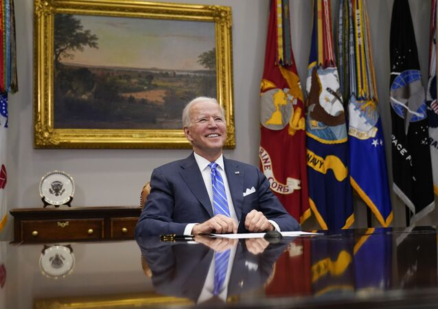 President Joe Biden congratulates NASA's Jet Propulsion Laboratory Mars 2020 Perseverance team for successfully landing on Mars during a virtual call in the Roosevelt Room at the White House, Thursday, March 4, 2021