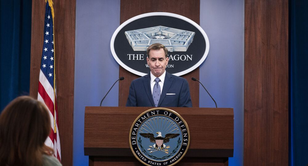 Pentagon spokesman John Kirby speaks during a media briefing at the Pentagon, Wednesday, Feb. 17, 2021, in Washington.