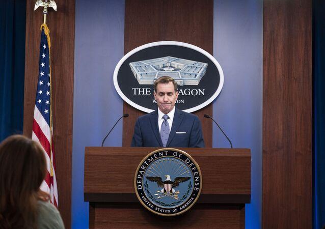 Pentagon spokesman John Kirby speaks during a media briefing at the Pentagon, Wednesday, Feb. 17, 2021, in Washington.
