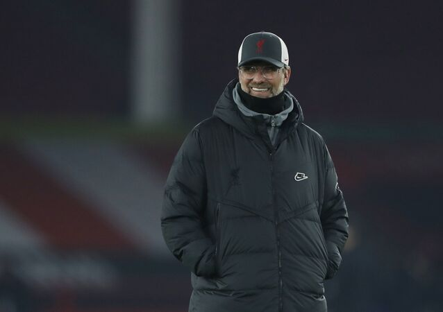 Liverpool manager Juergen Klopp during the warm up before the match on February 28, 2021