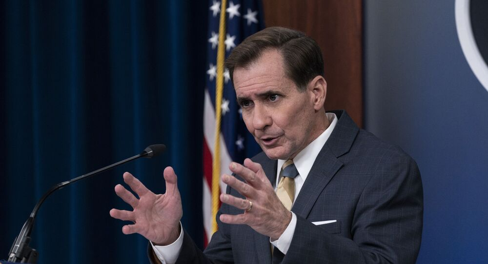 Pentagon spokesman John Kirby speaks during a media briefing at the Pentagon. File.
