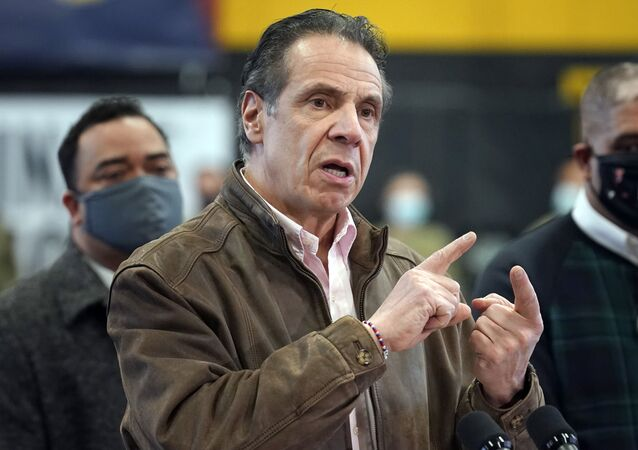In this Feb. 22, 2021 file photo, New York Gov. Andrew Cuomo speaks during a news conference at a COVID-19 vaccination site in the Brooklyn borough of New York