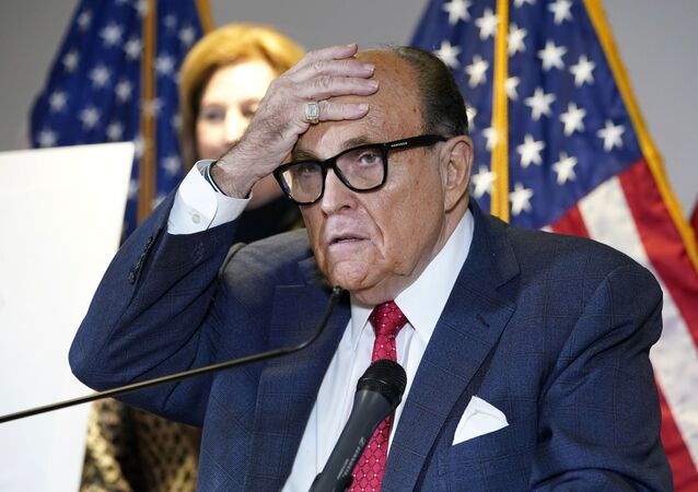 In this Nov. 19, 2020, file photo, former New York Mayor Rudy Giuliani, who was a lawyer for President Donald Trump, speaks during a news conference at the Republican National Committee headquarters in Washington
