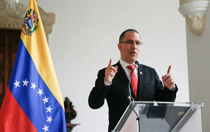 Venezuela's Foreign Minister Jorge Arreaza gestures as he speaks to the media at the Foreign Ministry headquarters in Caracas, Venezuela February 24, 2021.
