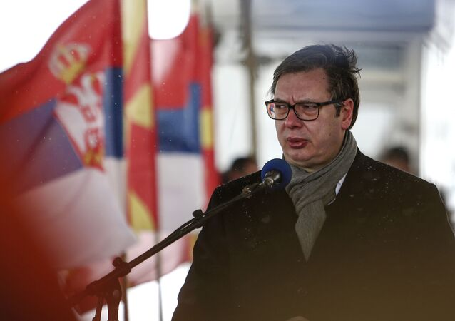 Serbia's President Aleksandar Vucic talks for the media at a news conference with North Macedonia's Prime Minister Zoran Zaev, not pictured, during a handover of COVID-19 vaccines, at the border crossing Tabanovce, between North Macedonia and Serbia, on Sunday, Feb. 14, 2021.
