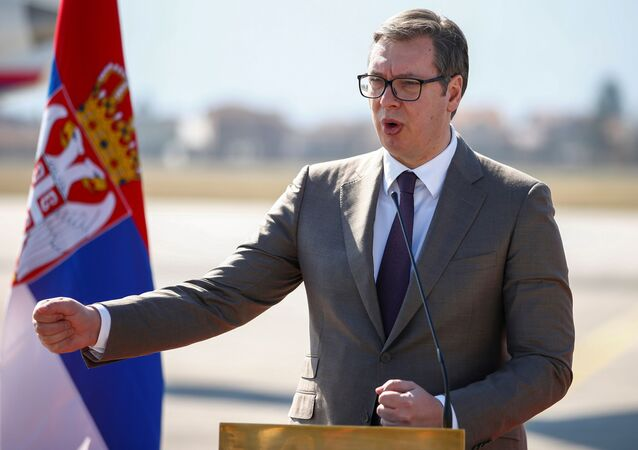 Serbia's president Aleksandar Vucic speaks during a news conference after donating a batch of coronavirus vaccines, at Sarajevo International Airport in Sarajevo, Bosnia and Herzegovina, March 2, 2021.