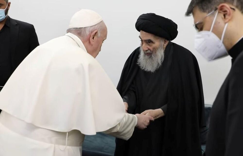 Pope Francis meets with Iraq's top Shi'ite cleric, Grand Ayatollah Ali al-Sistani, in Najaf, Iraq. Picture taken 6 March 2021.