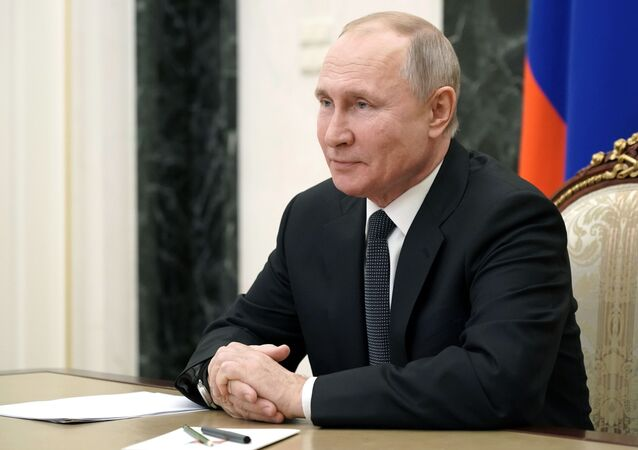 February 26, 2021. Russian President Vladimir Putin is holding an operational meeting with permanent members of the Russian Security Council via videoconference.